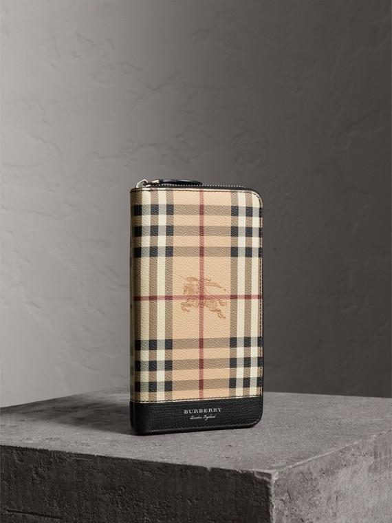 Brieftasche in Haymarket Check und Leder mit umlaufendem Reißverschluss (Schwarz)