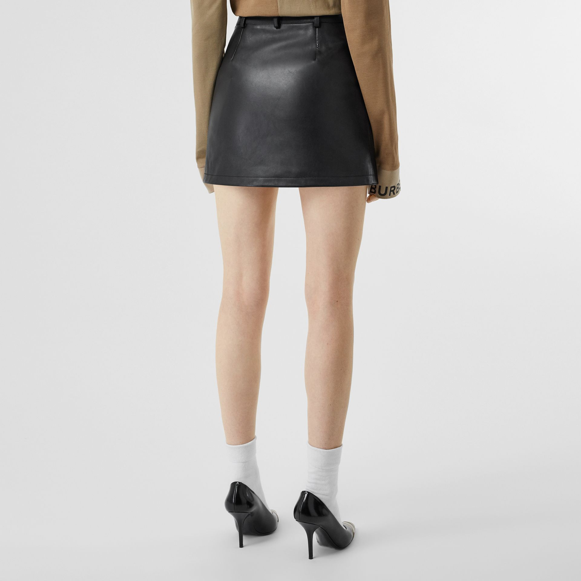 Zip-front Leather Mini Skirt in Black - Women | Burberry - gallery image 2