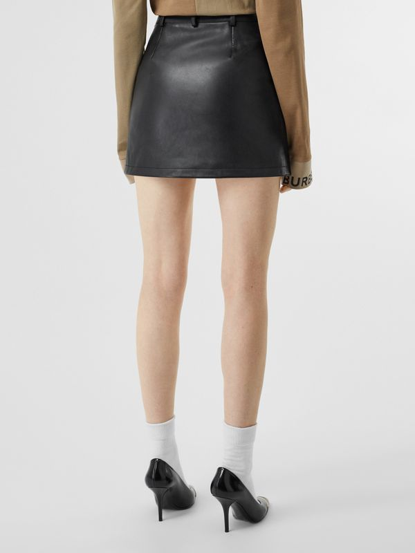 Zip-front Leather Mini Skirt in Black - Women | Burberry United Kingdom - cell image 2