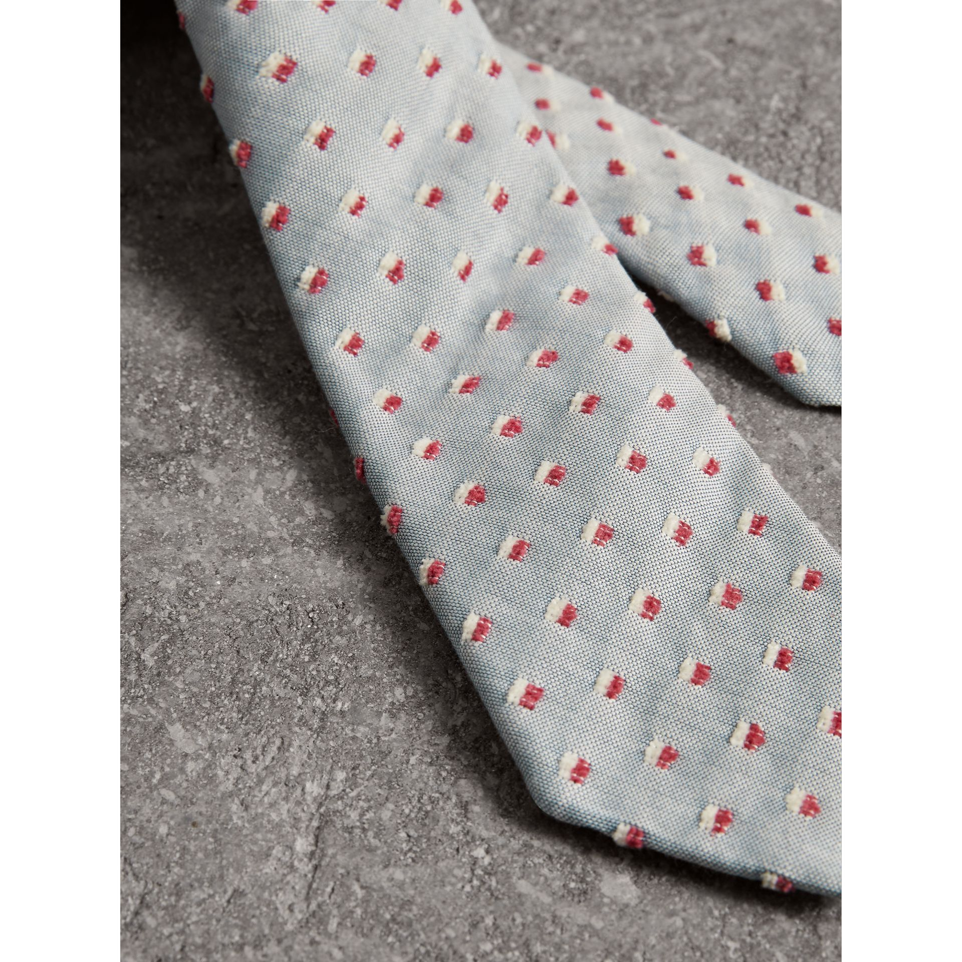 Slim Cut Chenille Dot Cotton Silk Tie in Sky Blue - Men | Burberry - gallery image 1