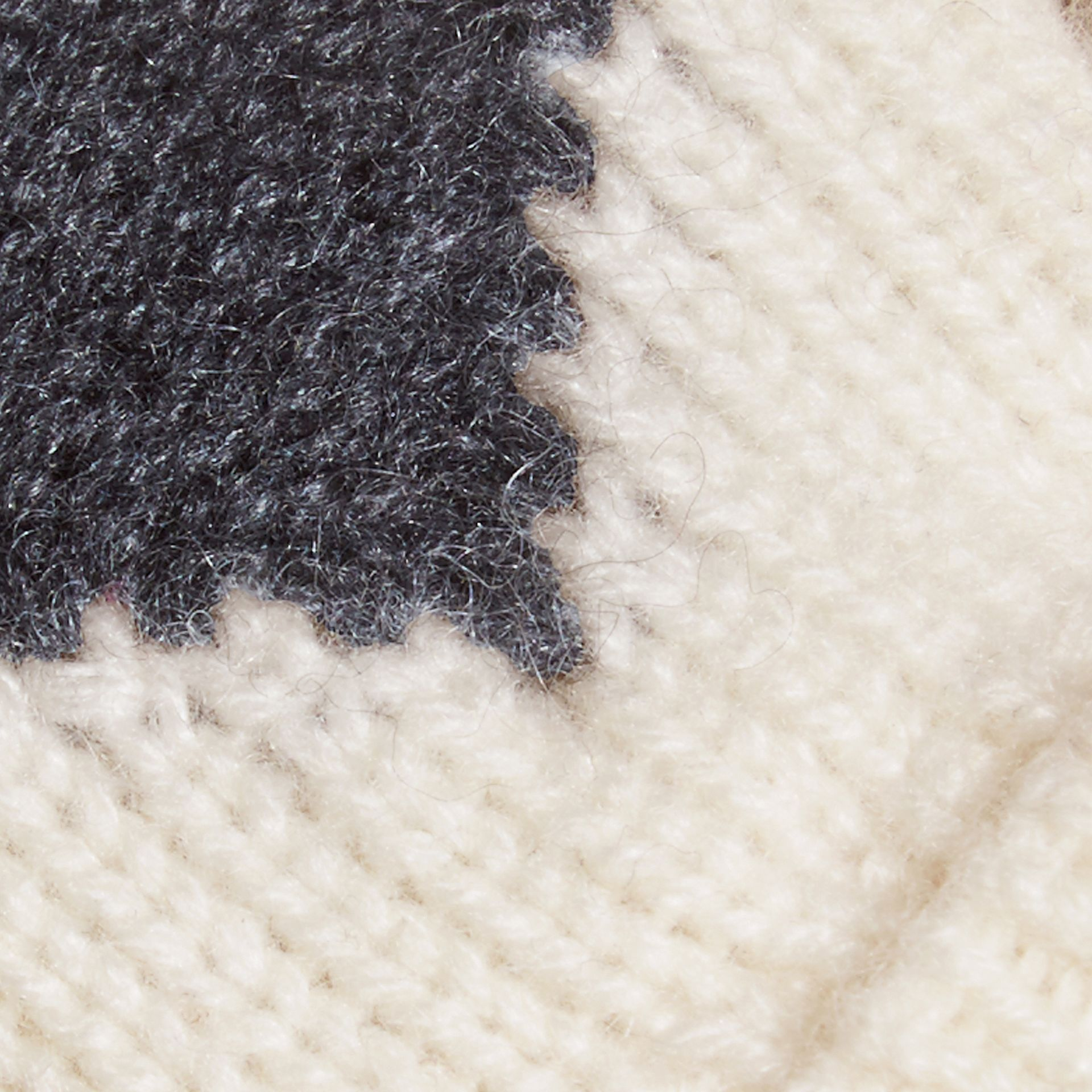 Charcoal Heart Intarsia Cashmere Mittens Charcoal - gallery image 2