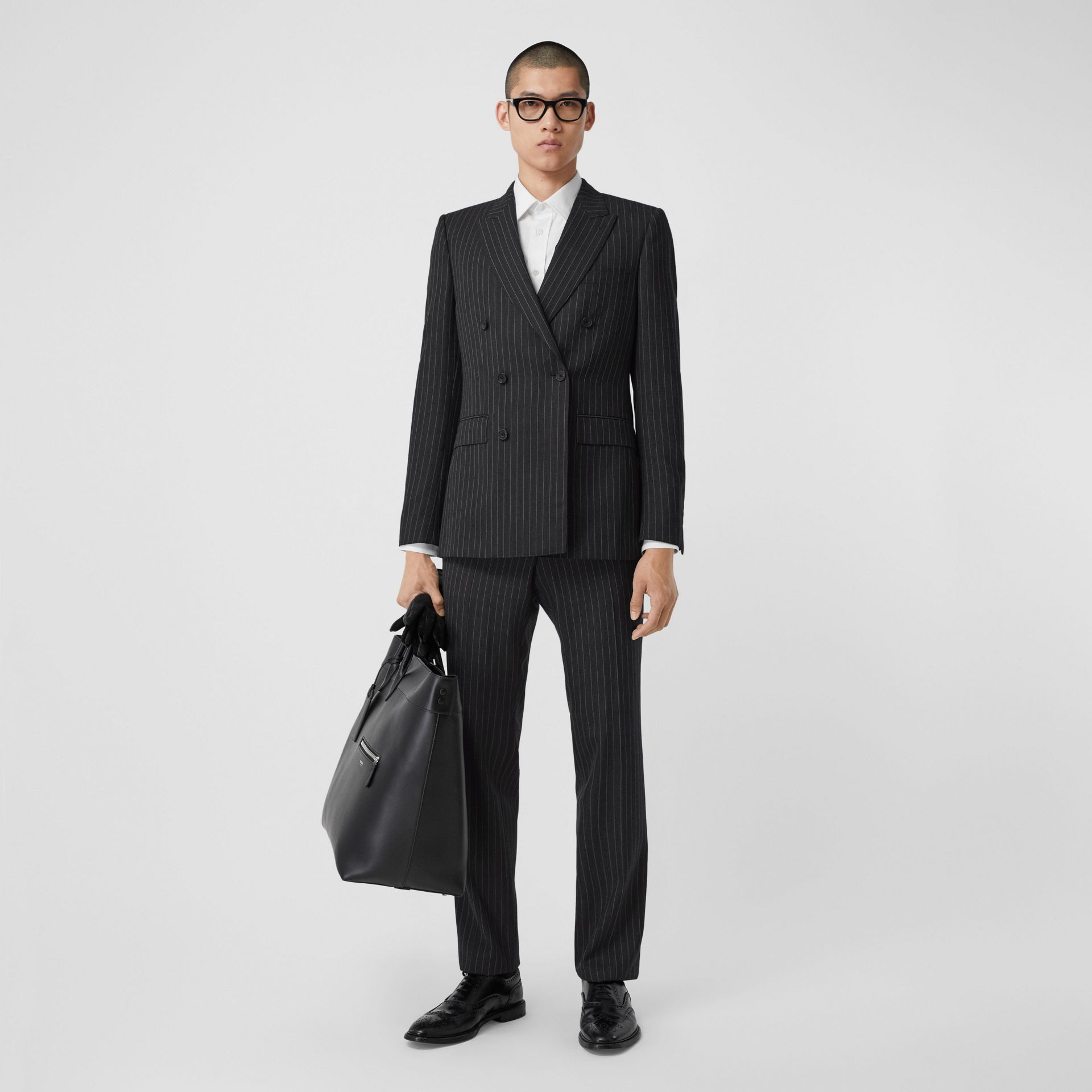 English Fit Pinstriped Wool Double-breasted Suit in Charcoal - Men | Burberry - gallery image 0