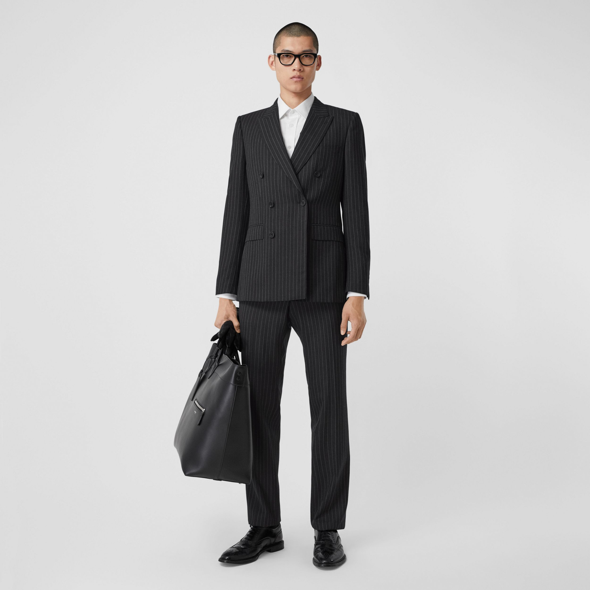 English Fit Pinstriped Wool Double-breasted Suit in Charcoal - Men | Burberry - 1