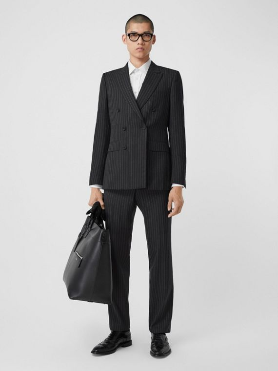 English Fit Pinstriped Wool Double-breasted Suit in Charcoal