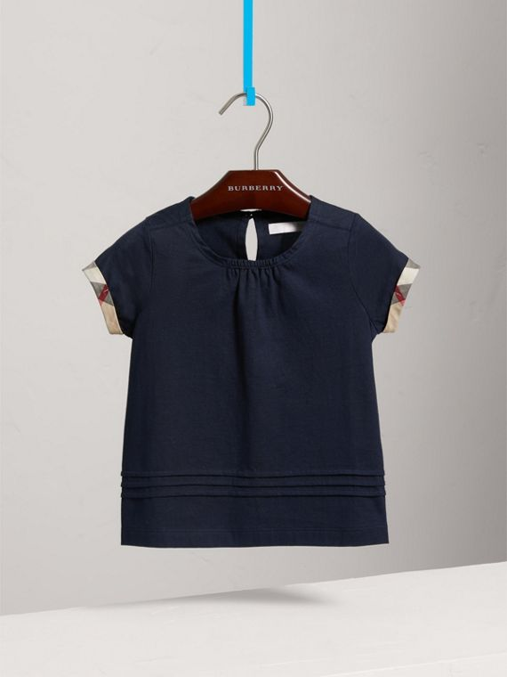 Pleat and Check Detail Cotton T-shirt in Navy - Girl | Burberry - cell image 2