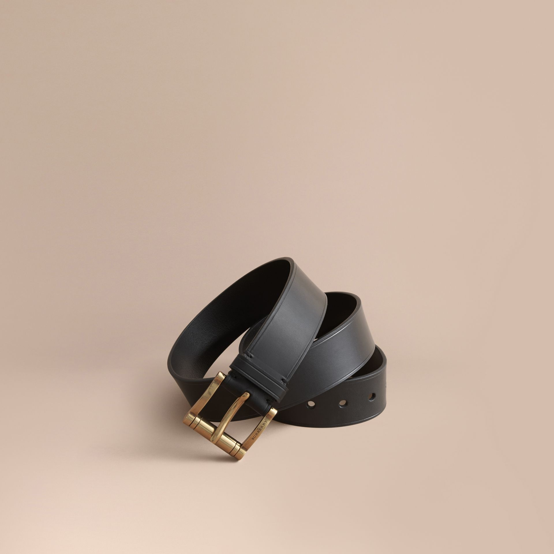 Brass Buckle Leather Belt in Black - Men | Burberry - gallery image 1