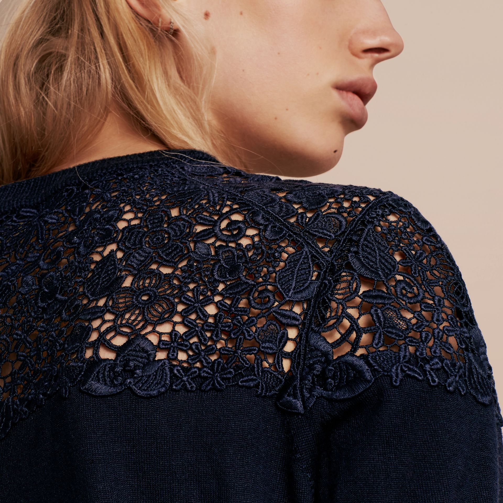 Navy Lace Yoke Merino Wool Sweater Navy - gallery image 5