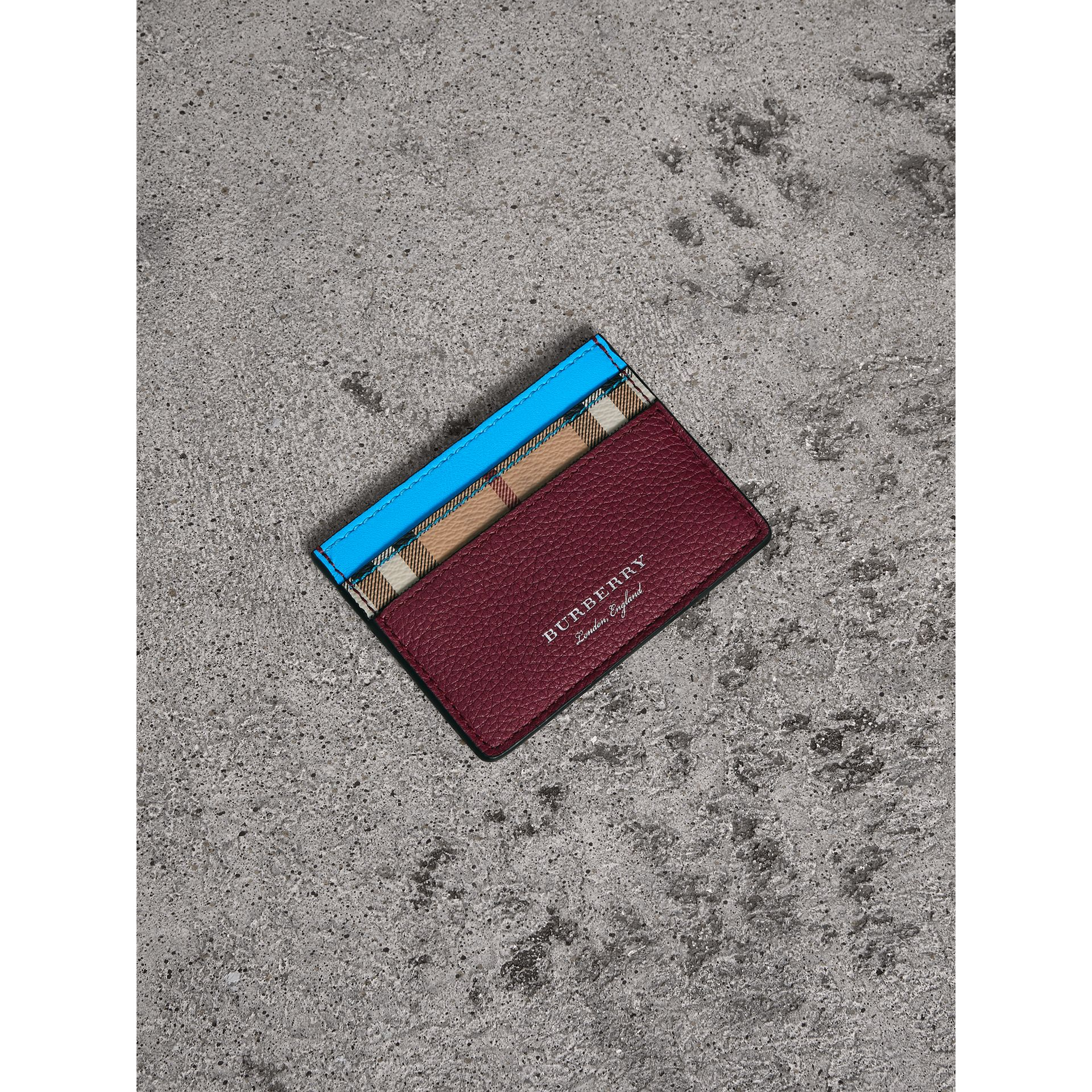 Haymarket Check and Two-tone Leather Card Case in Bright Blue | Burberry - gallery image 0