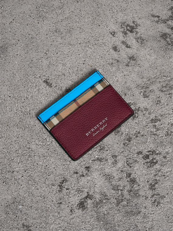 Haymarket Check and Two-tone Leather Card Case in Bright Blue
