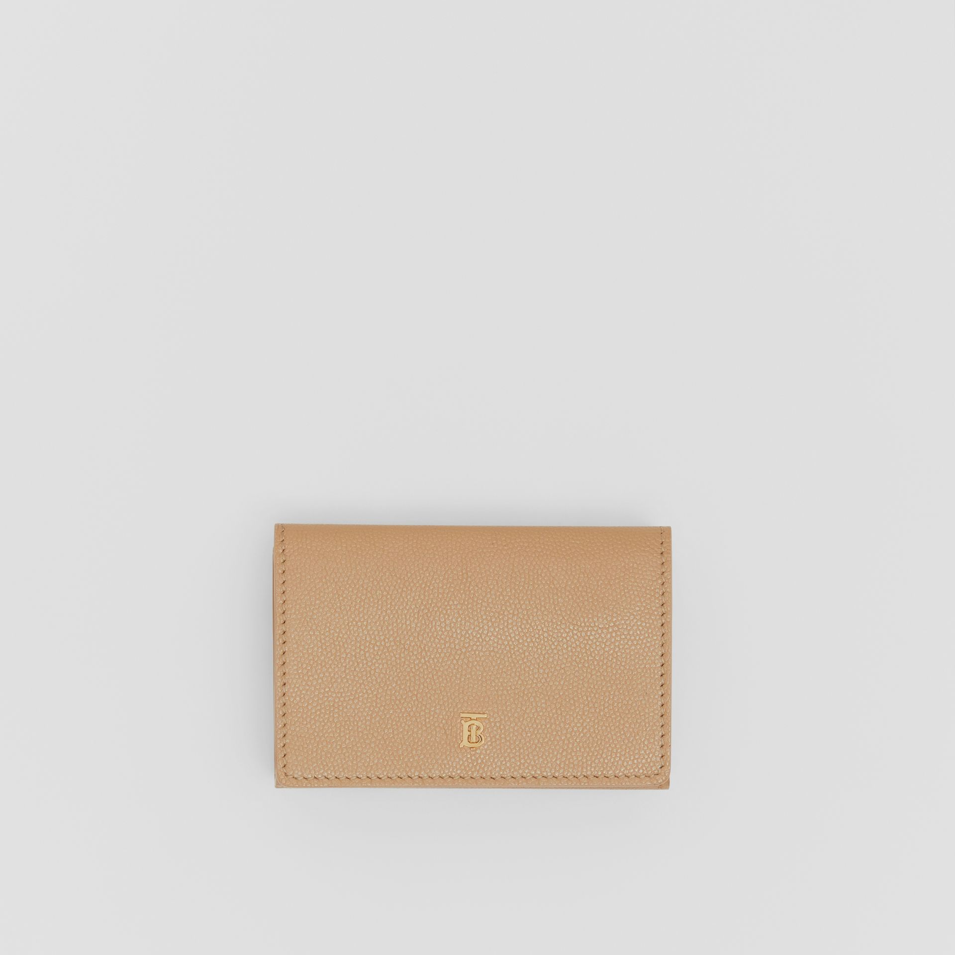 Small Grainy Leather Folding Wallet in Archive Beige - Women | Burberry Australia - gallery image 0