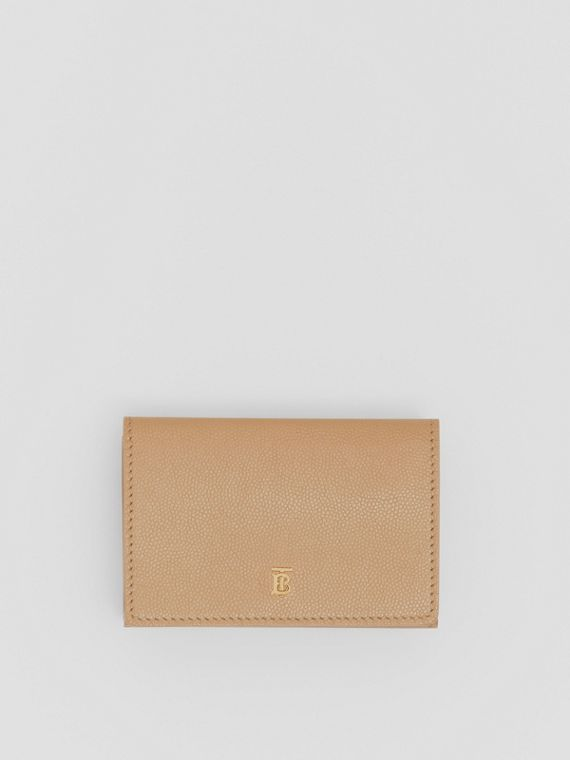 Small Grainy Leather Folding Wallet in Archive Beige