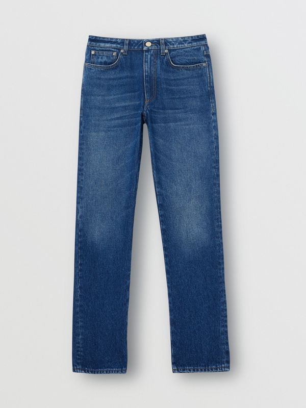 Straight Fit Logo Detail Jeans in Indigo - Women | Burberry - cell image 3