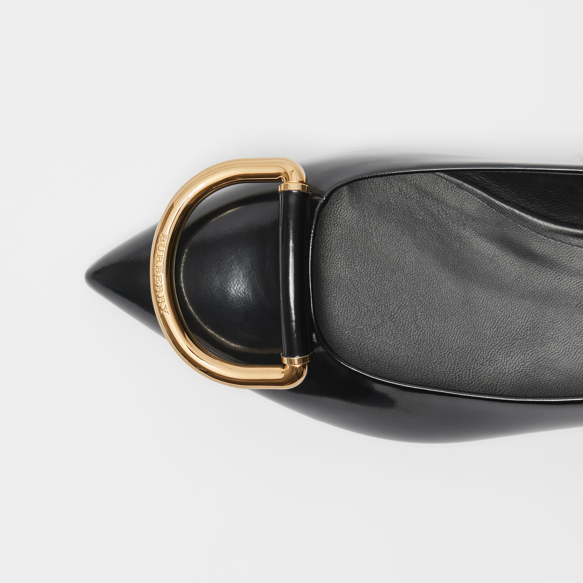The Leather D-ring Flat in Black/gold - Women | Burberry - gallery image 1