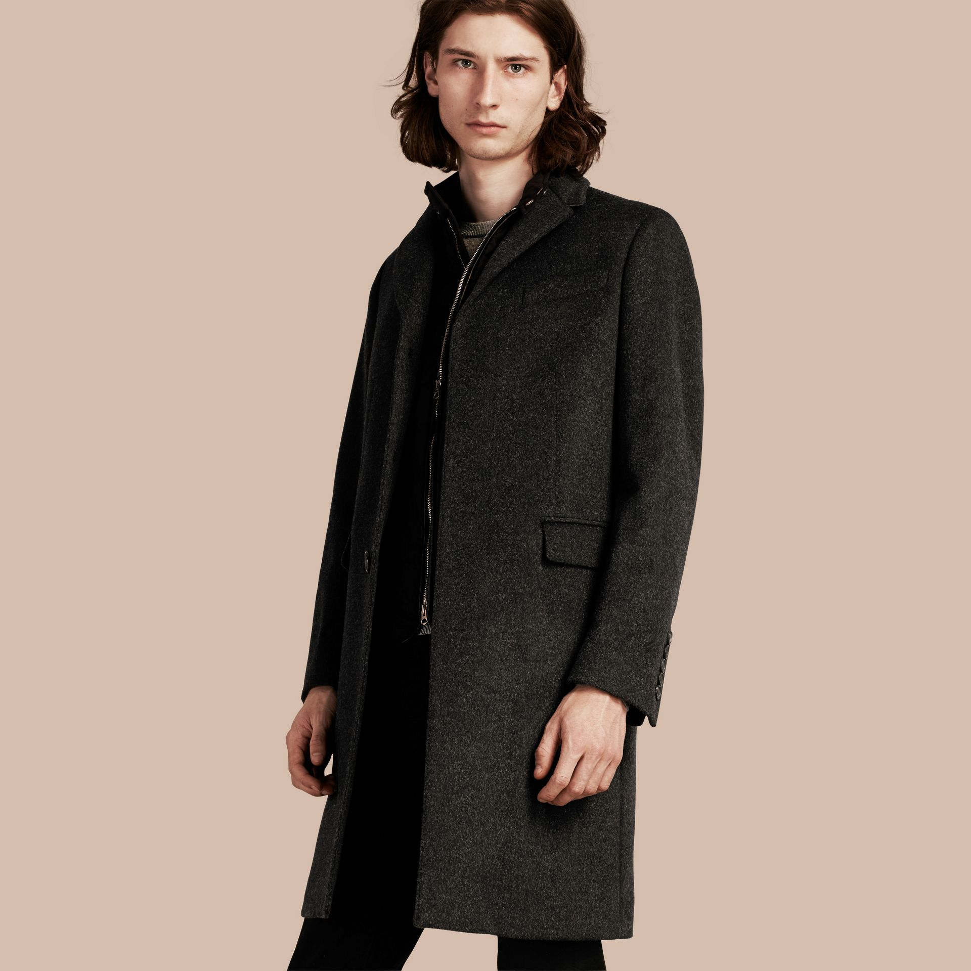 Dark grey melange Wool Cashmere Coat with Detachable Warmer - gallery image 1