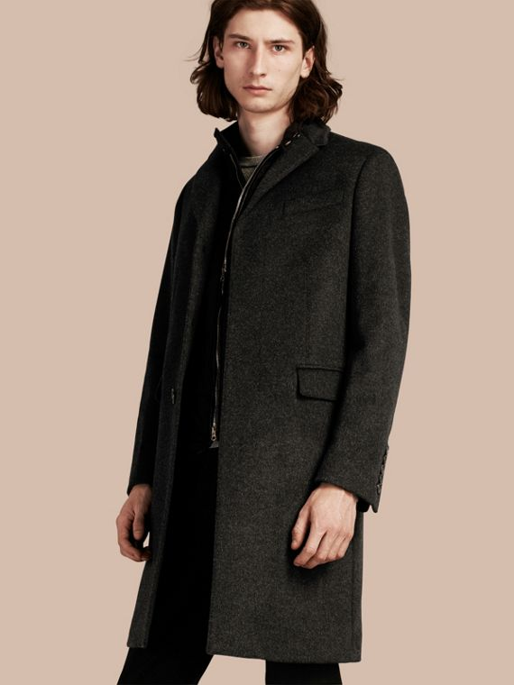 Wool Cashmere Coat with Detachable Warmer