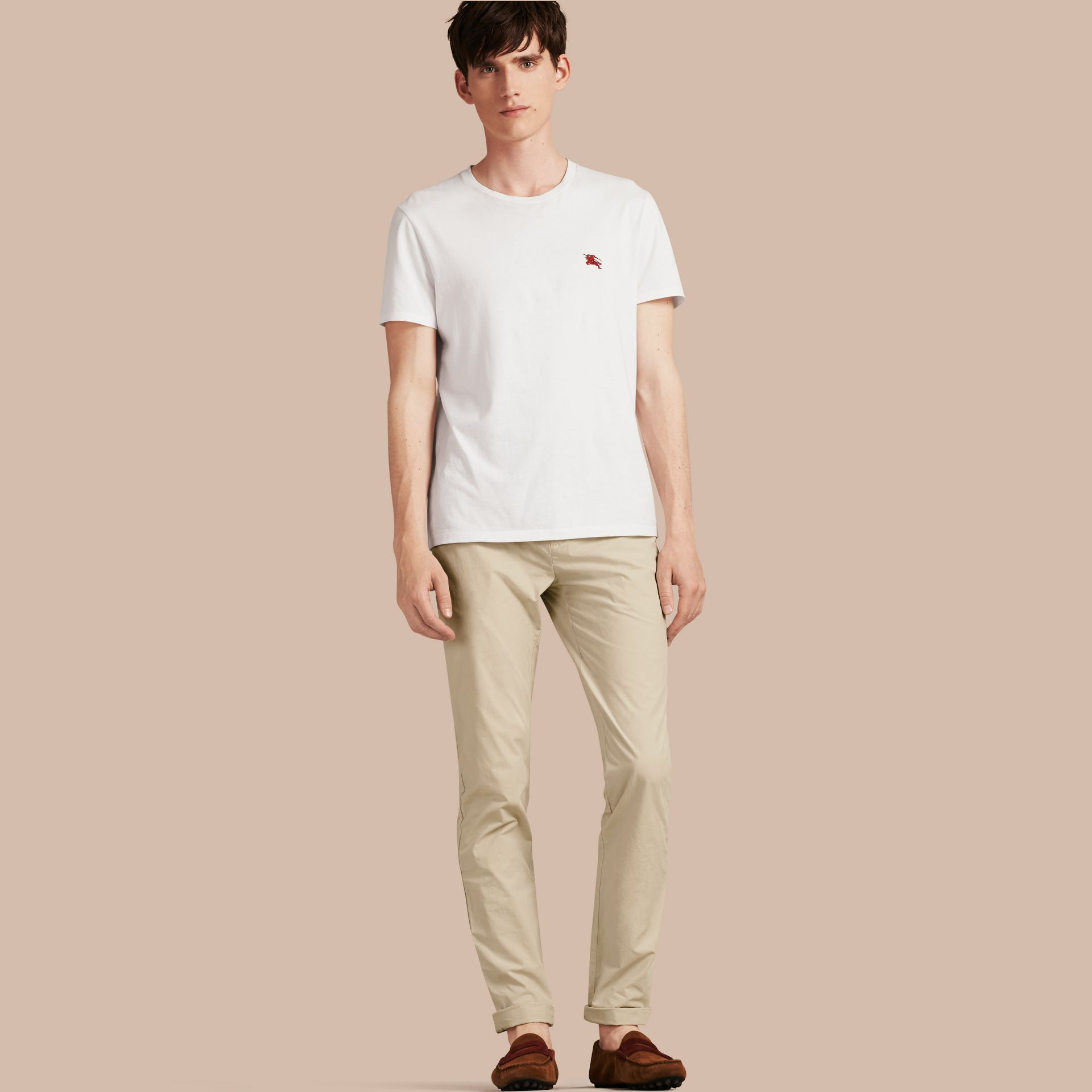 Slim Fit Cotton Poplin Chinos in Stone - gallery image 1