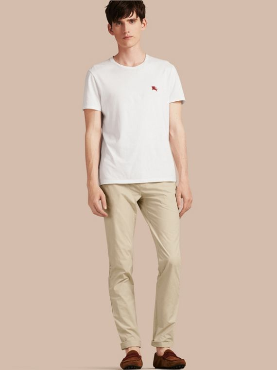 Slim Fit Cotton Poplin Chinos Stone