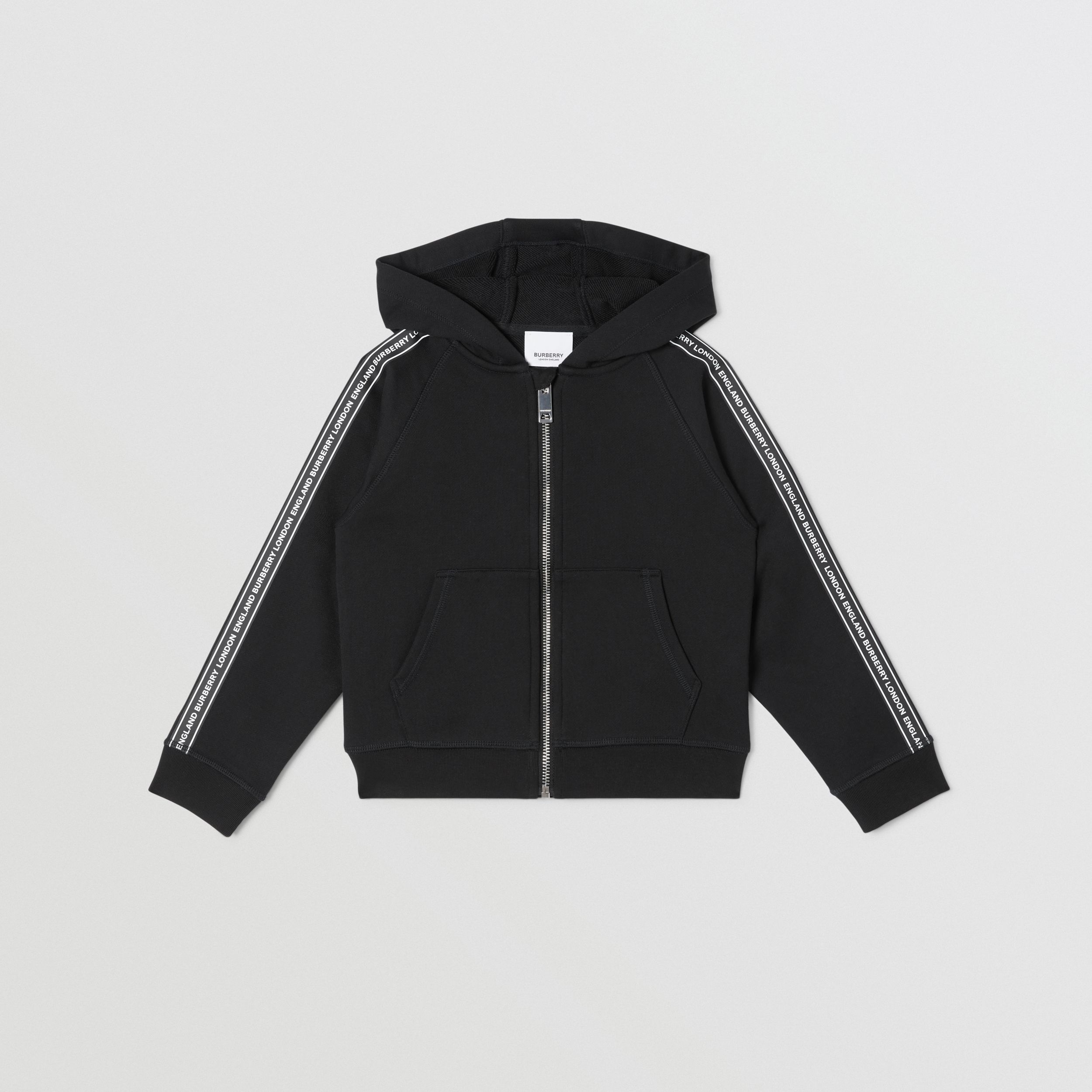 Logo Tape Cotton Hooded Top in Black | Burberry - 1