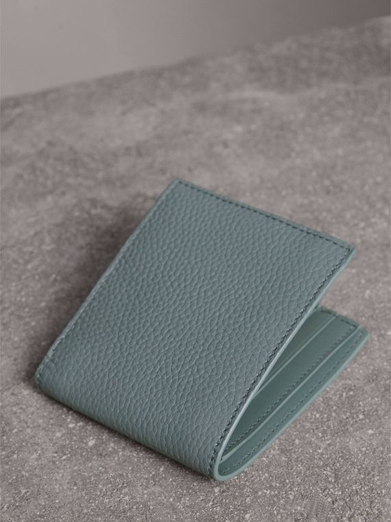 Embossed Leather Bifold Wallet in Dusty Teal Blue - Men | Burberry - cell image 2