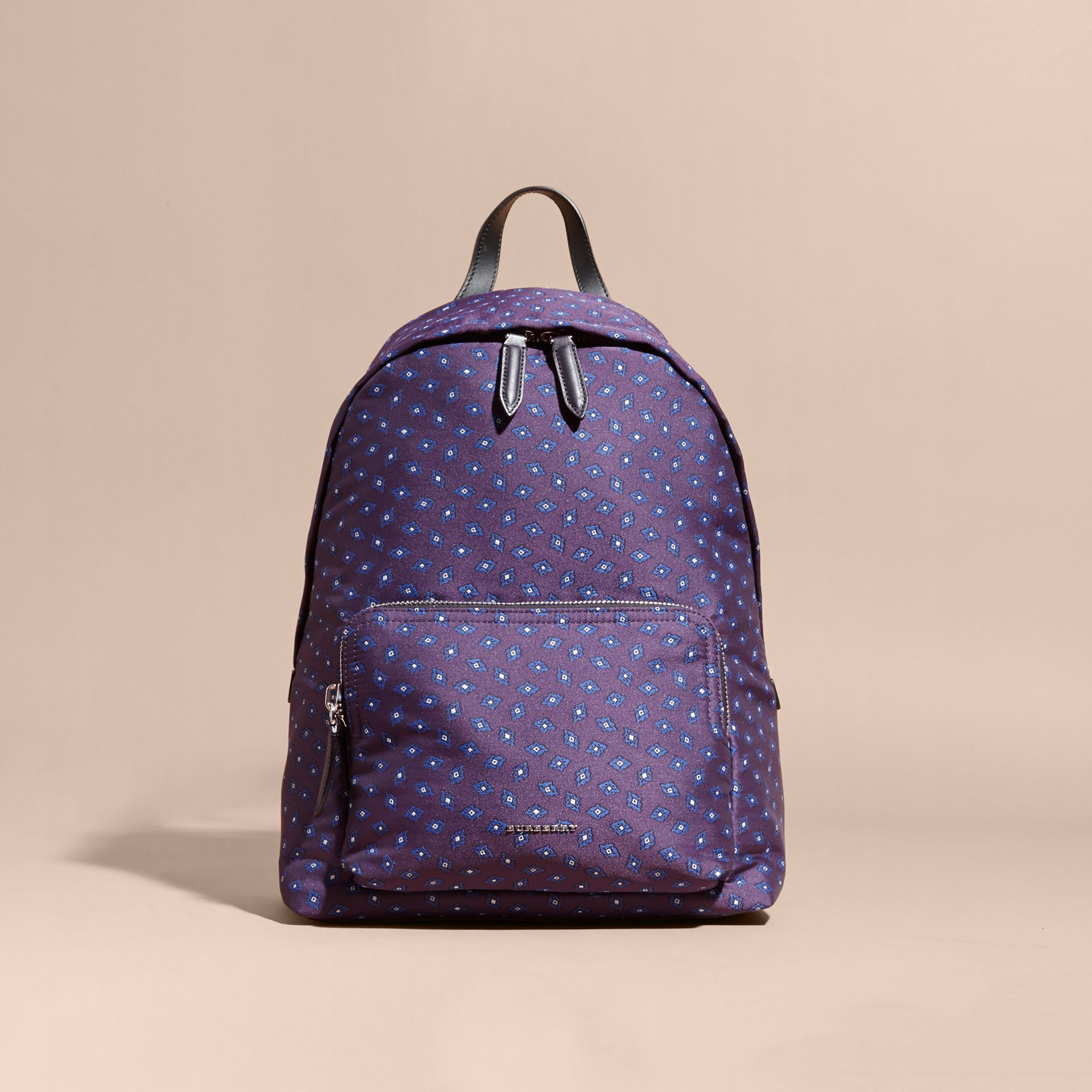 Deep aubergine Leather Trim Tile Jacquard Backpack - gallery image 8