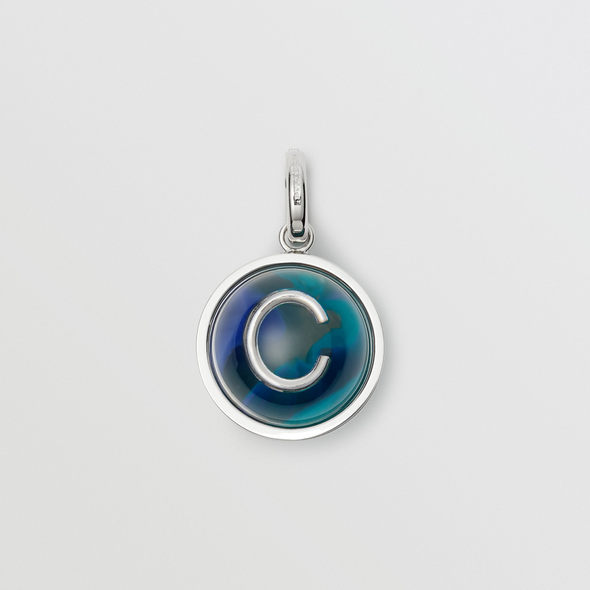 Marbled Resin 'C' Alphabet Charm in Palladio/ocean Blue - Women | Burberry - gallery image 0