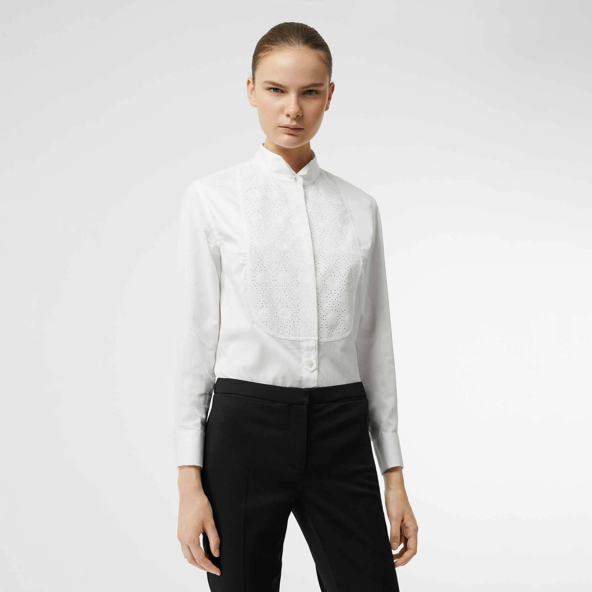 Floral Bib Silk Cotton Shirt in White - Women | Burberry - gallery image 0