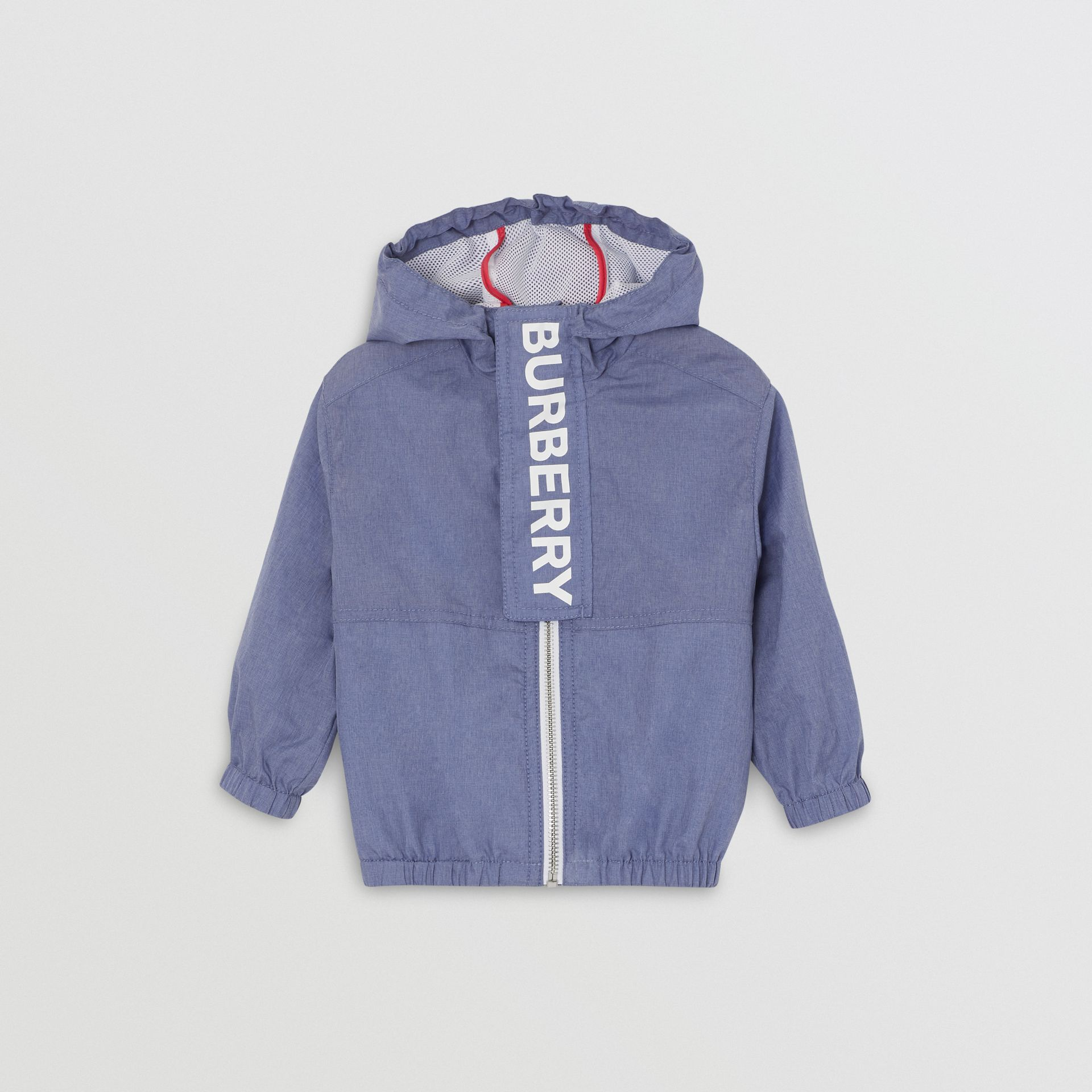 Logo Print Lightweight Hooded Jacket in Sapphire Blue - Children | Burberry Australia - gallery image 0