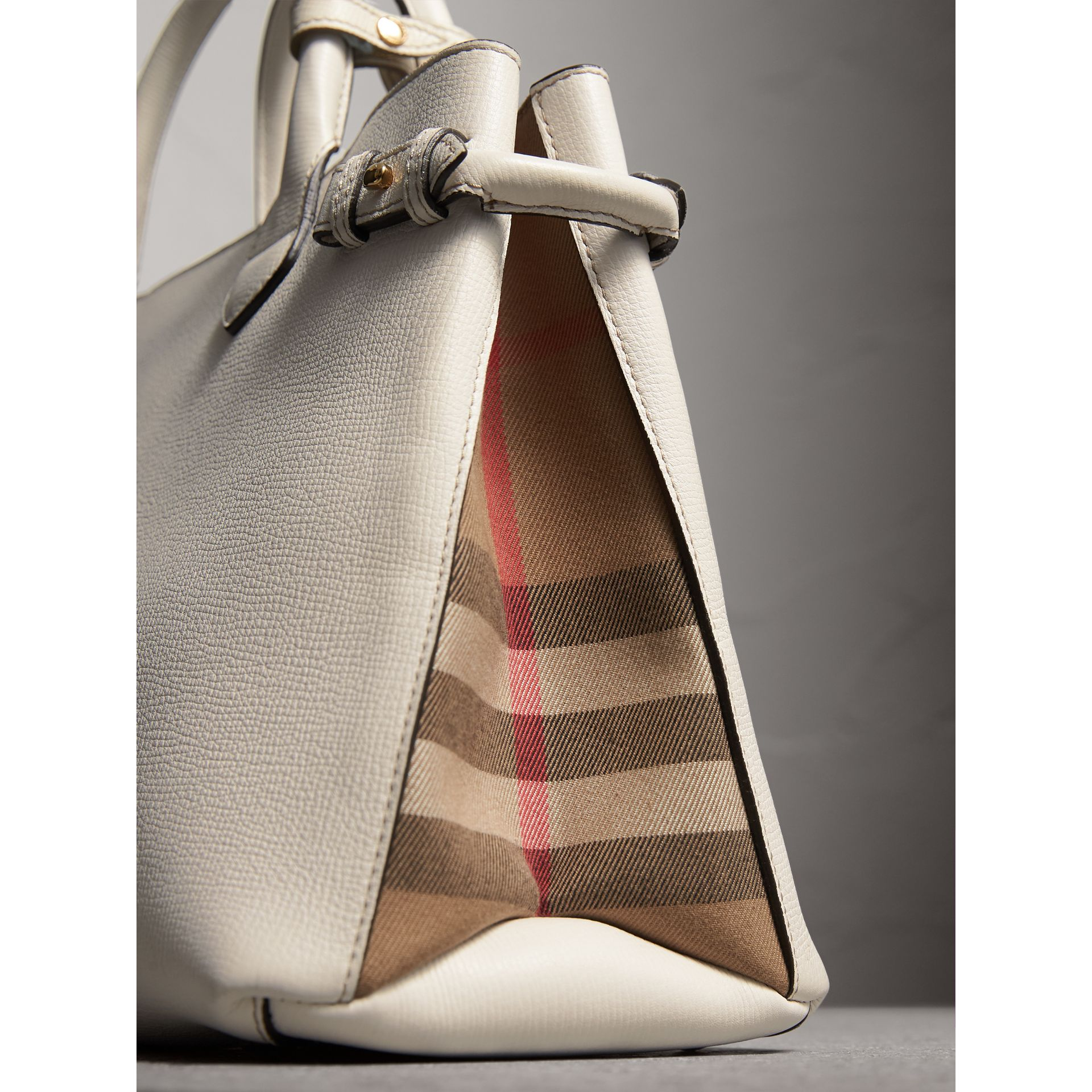 The Medium Banner in Leather and House Check in Natural - Women | Burberry Australia - gallery image 1