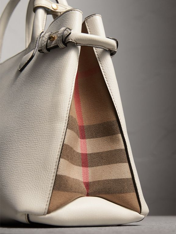 The Medium Banner in Leather and House Check in Natural - Women | Burberry United Kingdom - cell image 1