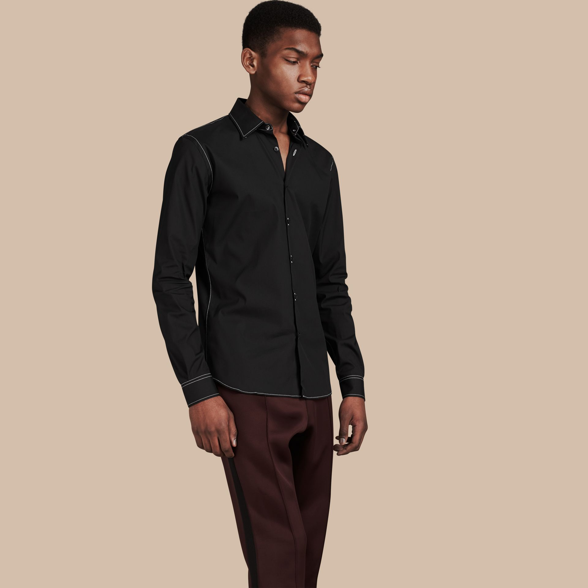 Black Contrast Topstitch Stretch Cotton Shirt Black - gallery image 1