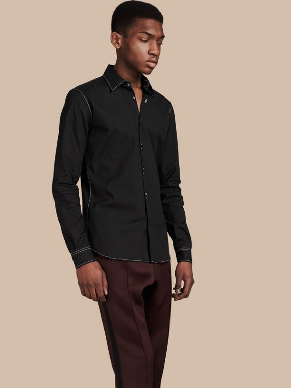 Contrast Topstitch Stretch Cotton Shirt Black