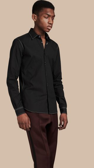 Contrast Topstitch Stretch Cotton Shirt