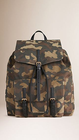 Camouflage Suede Backpack