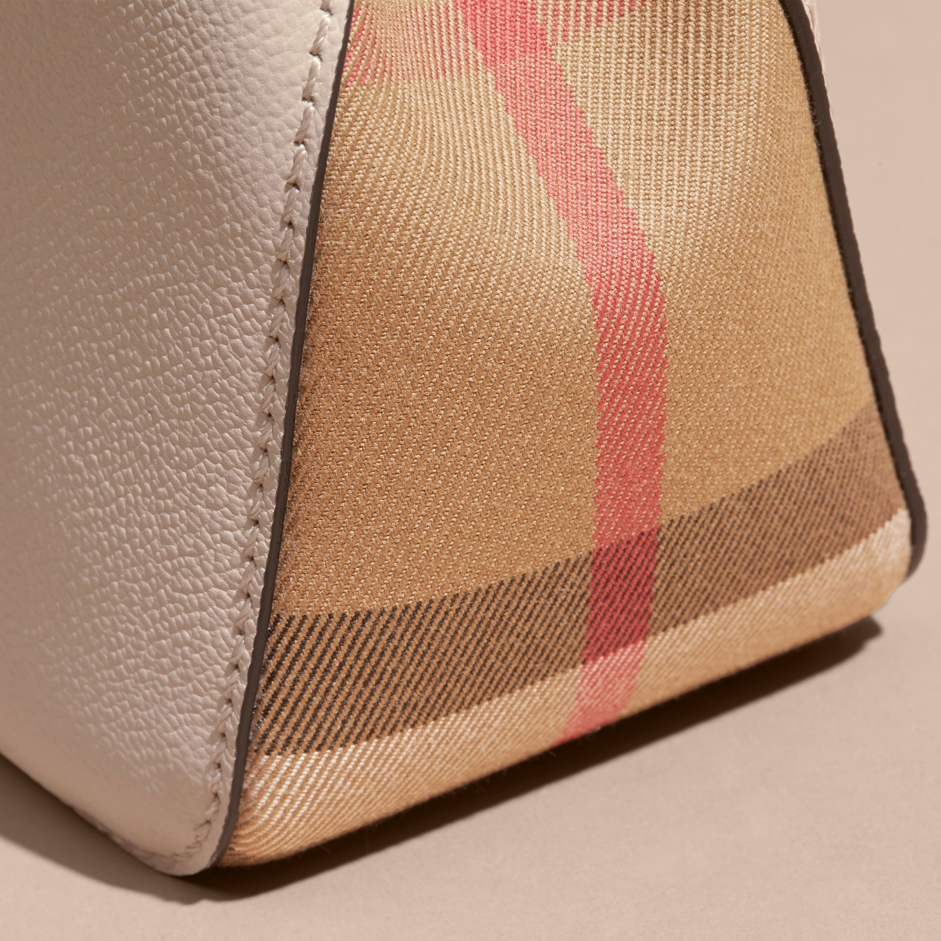 Buckle Detail Leather and House Check Crossbody Bag in Limestone - Women | Burberry - gallery image 6