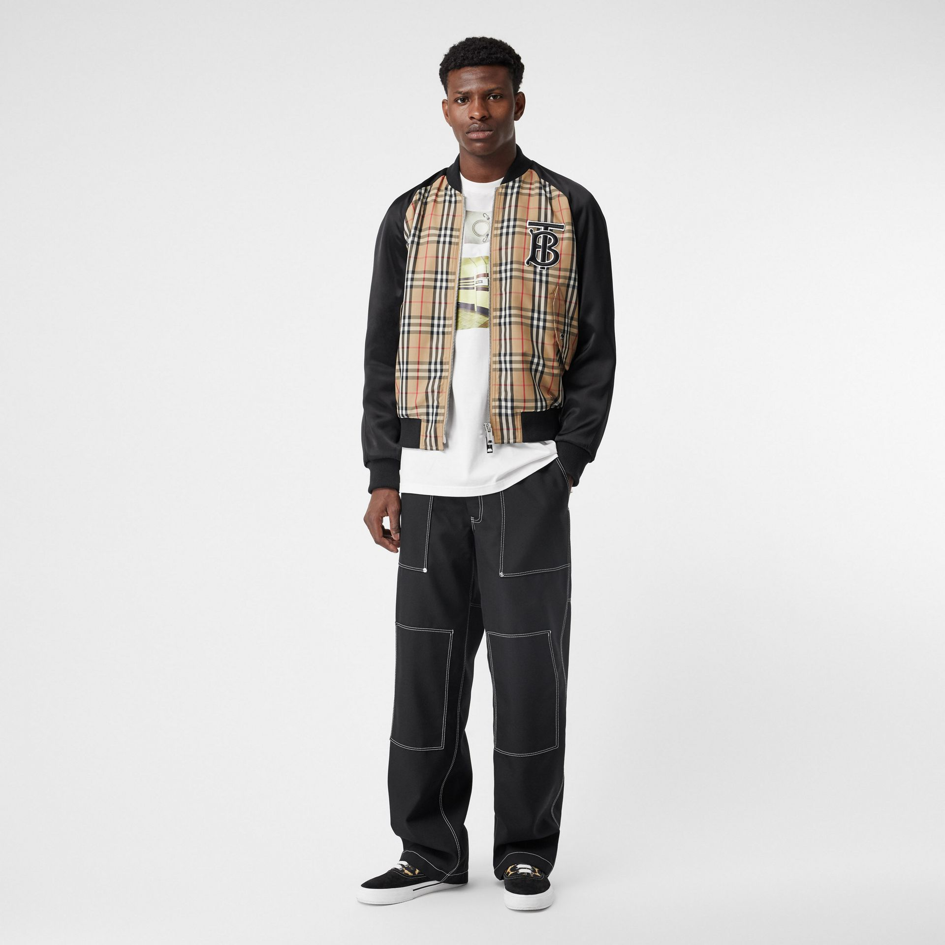 Monogram Motif Vintage Check Nylon Bomber Jacket in Archive Beige - Men | Burberry - gallery image 0