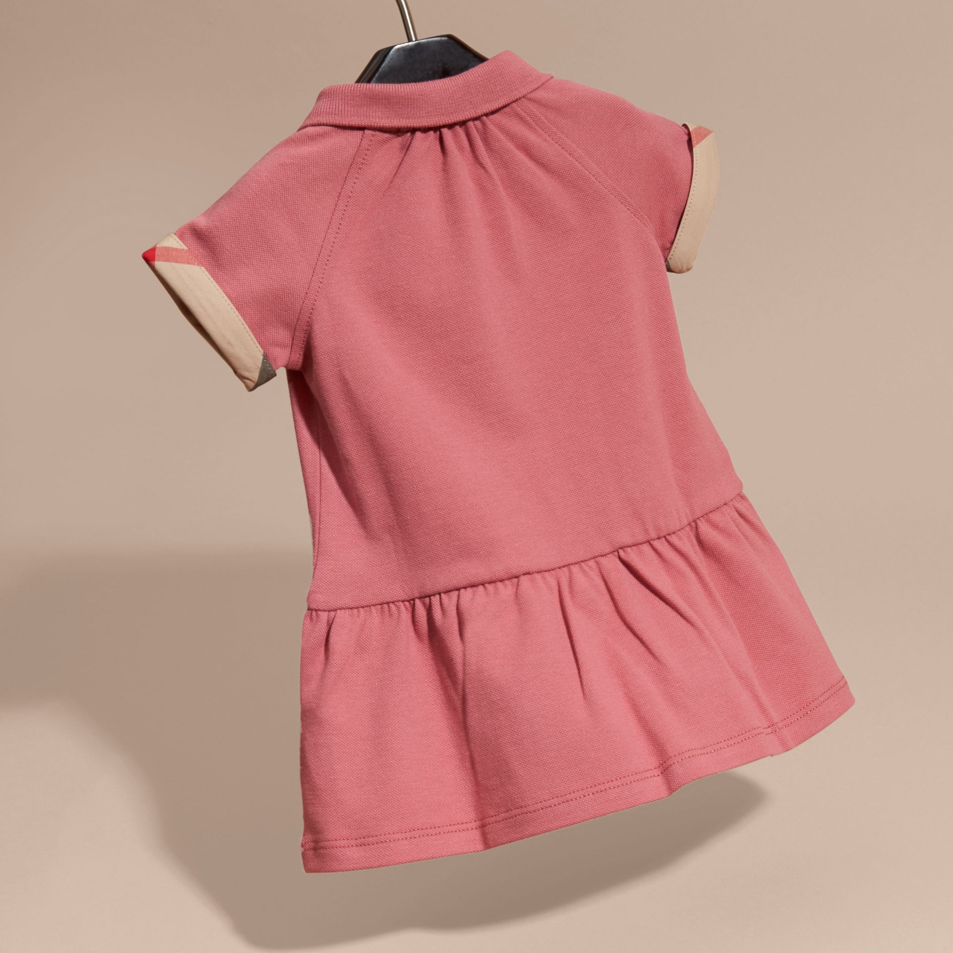 Check Detail Stretch Cotton Piqué Dress Pink Azalea - gallery image 4