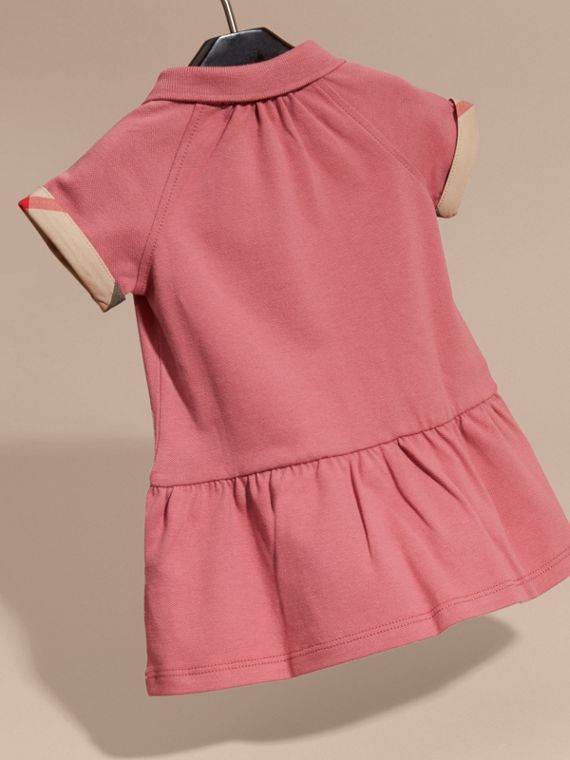 Check Detail Stretch Cotton Piqué Dress Pink Azalea - cell image 3