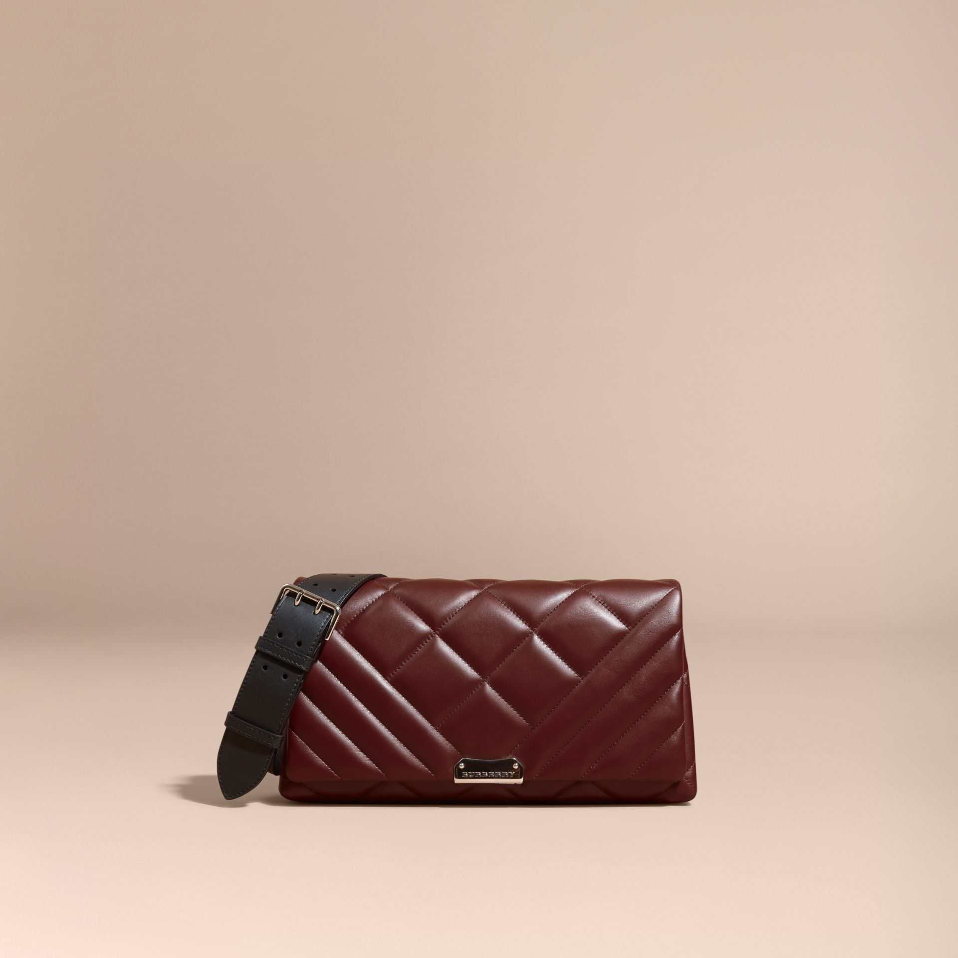 Dark damson Medium Quilted Leather and House Check Clutch Bag - gallery image 9