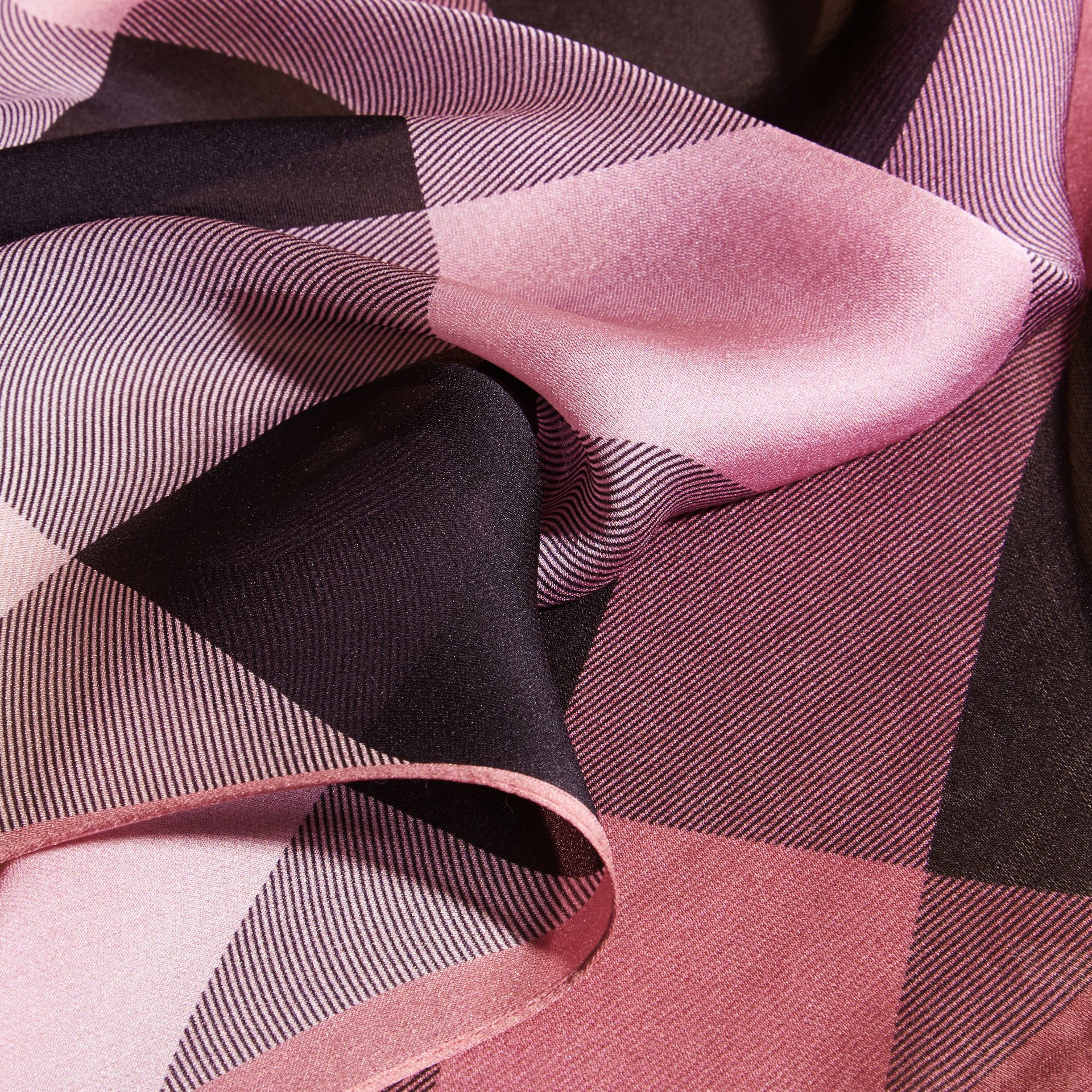 Ombré Washed Check Silk Scarf Rose - gallery image 2