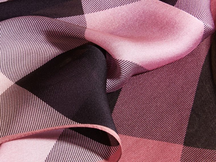Ombré Washed Check Silk Scarf in Ash Rose - Women | Burberry - cell image 1