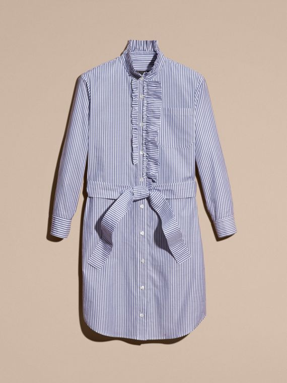 Navy Striped Cotton Shirt Dress with Ruffles - cell image 3