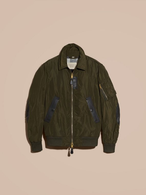 Khaki Lightweight Leather Trim Technical Jacket - cell image 3