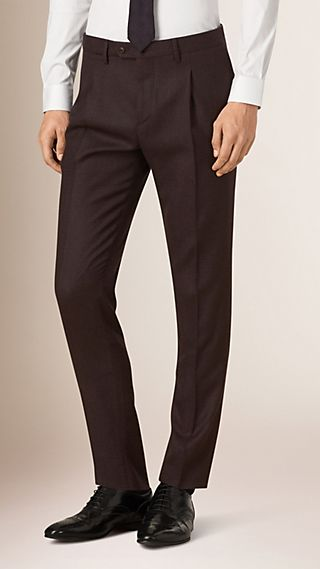 Micro-check Pegged Wool Trousers