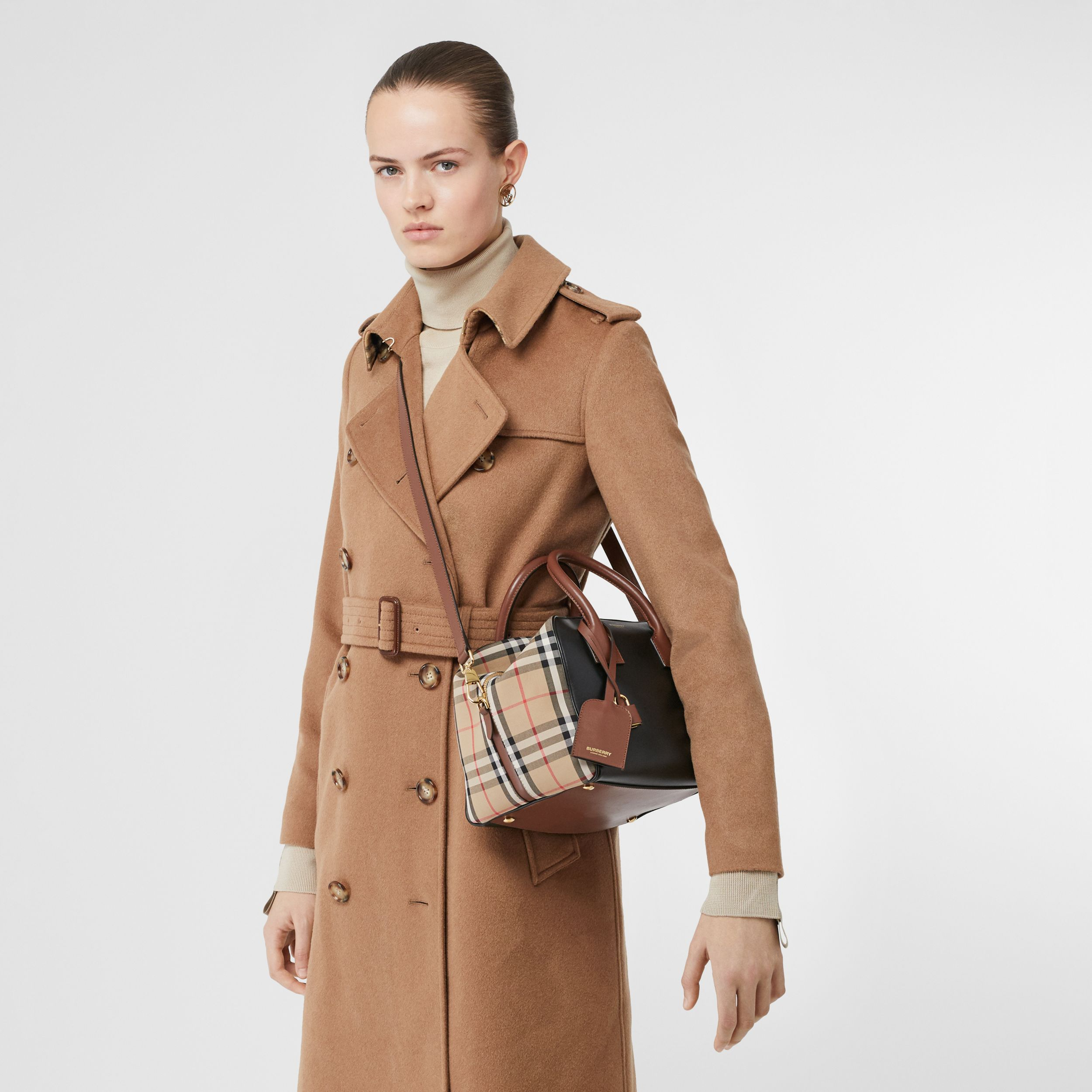 Small Leather and Vintage Check Cube Bag in Archive Beige - Women | Burberry - 3
