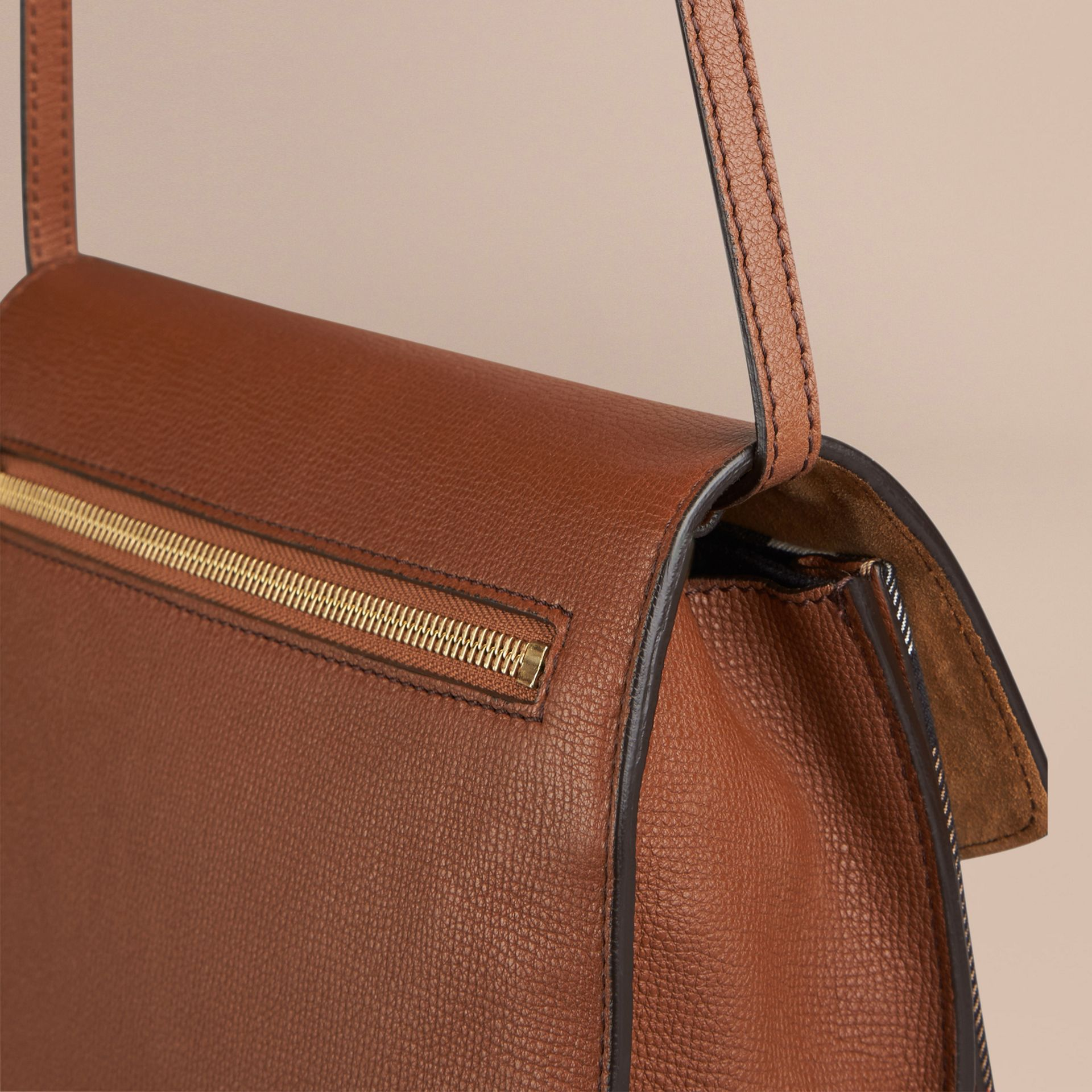Tan Small Leather and House Check Crossbody Bag Tan - gallery image 4