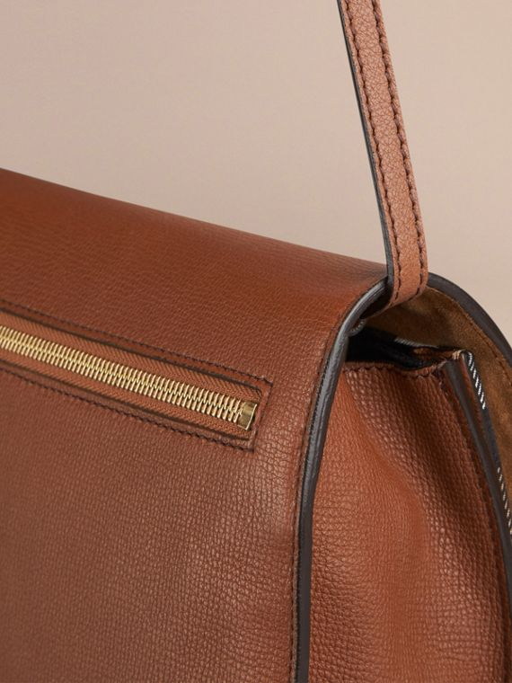 Small Leather and House Check Crossbody Bag in Tan - cell image 3