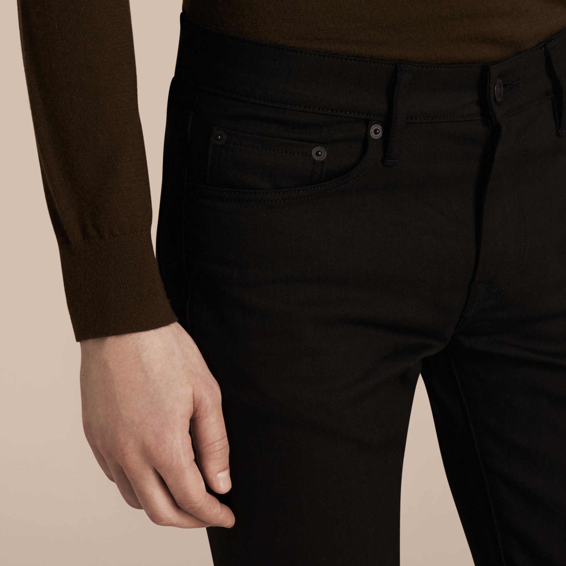 Black Slim Fit Unwashed Stretch Denim Jeans - gallery image 6