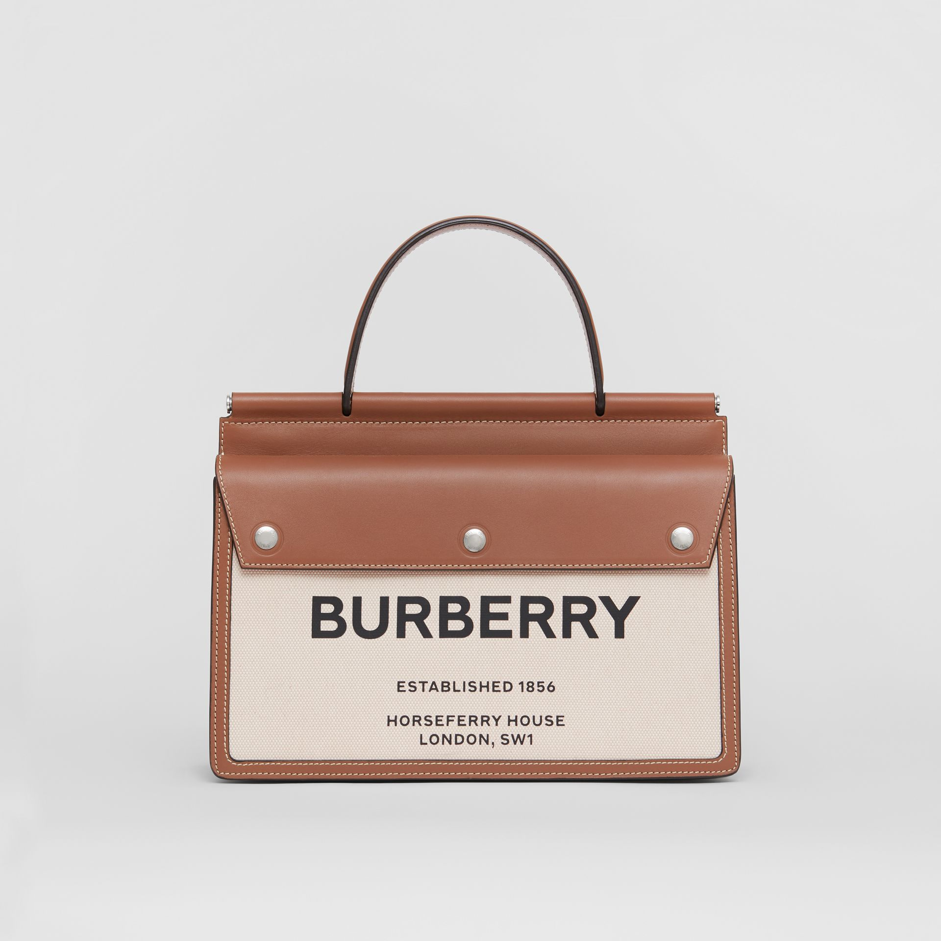 Small Horseferry Print Title Bag with Pocket Detail in Natural/malt Brown - Women | Burberry United Kingdom - gallery image 0