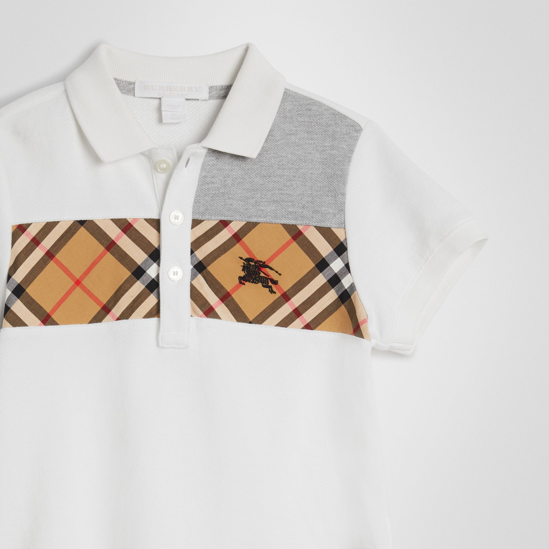 Vintage Check Panel Cotton Polo Shirt in White | Burberry - gallery image 4
