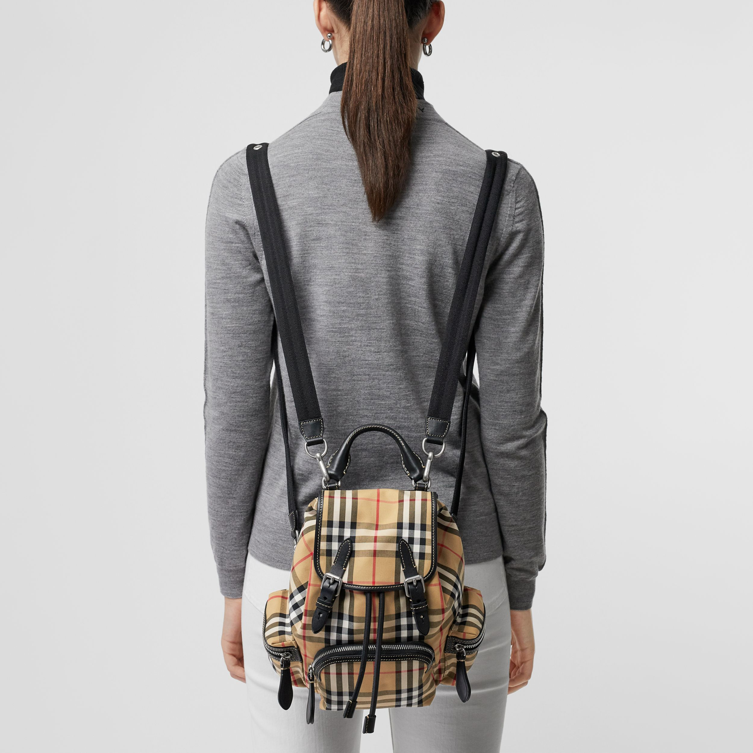 The Small Rucksack in Vintage Check and Leather in Antique Yellow - Women | Burberry - 4